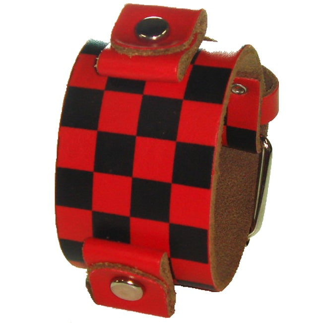 Nemesis Checkered Red Leather Watch Band