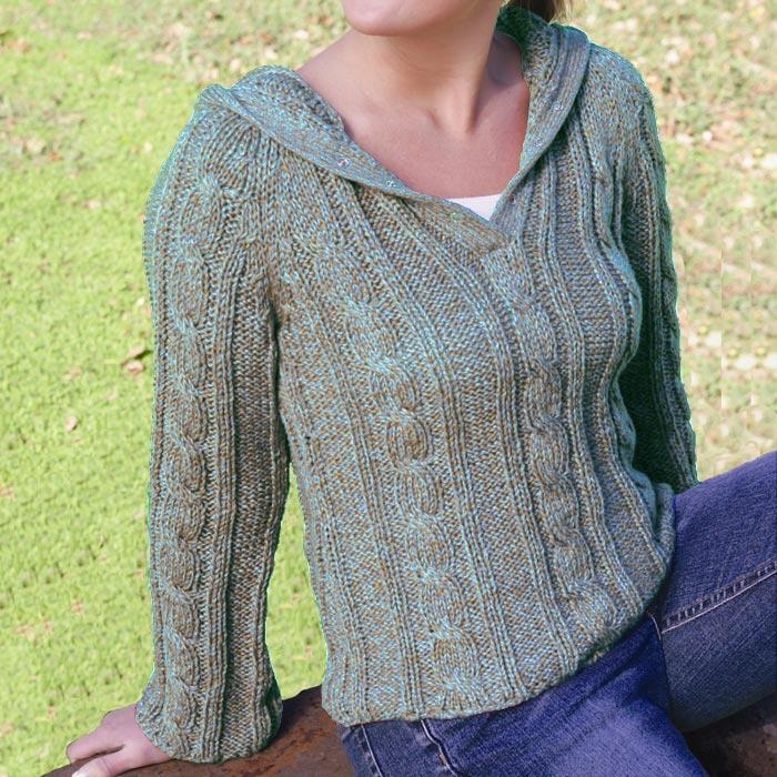 Madison Cable-Knit Cardigan Sweater (Peru)