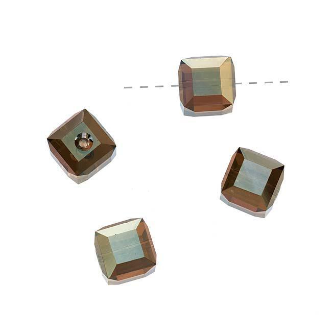 Beadaholique Crystal Bronze Shade 2X 8mm Cube Bead