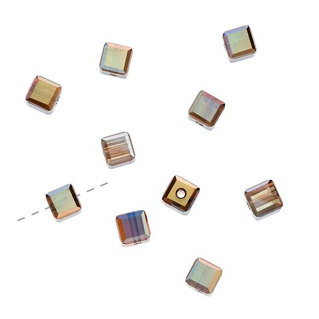 Beadaholique Crystal Bronze Shade 2X 4mm Cube Bead