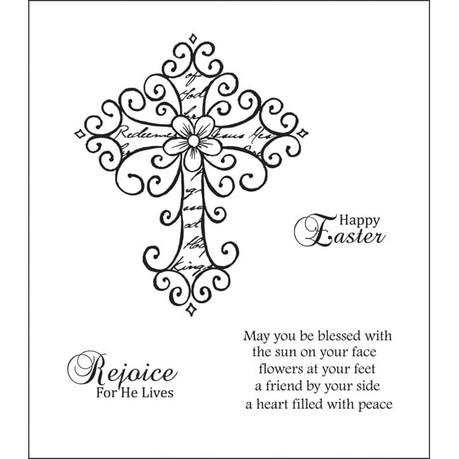 Heartfelt Creations Wrought Iron Cross Cling Rubber Stamp Set
