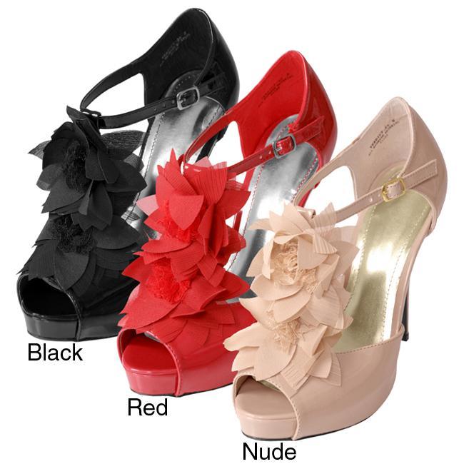 Journee Collection Women's 'Verdict-23' Chiffon Flower T-Strap Heels