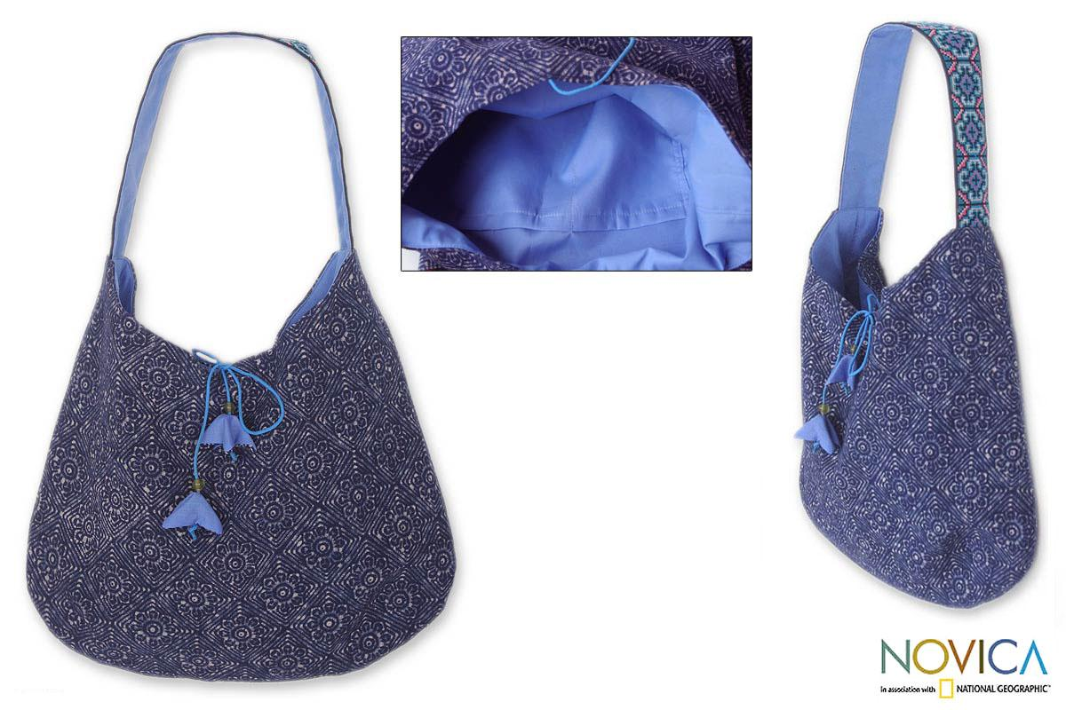 Cotton 'Tribal Tulips' Hobo Shoulder Bag (Thailand)