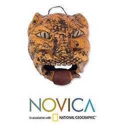 Handmade Ceramic 'Fierce Male Jaguar' Mask (Mexico) - Thumbnail 1