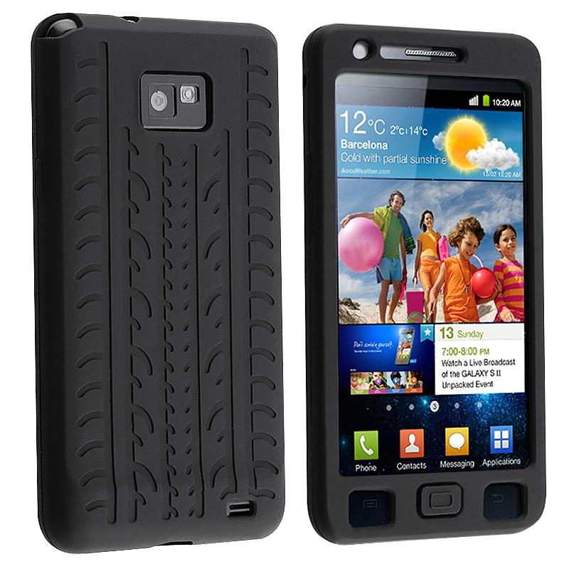 Black Tire Tread Silicone Case for Samsung Galaxy S 2 i9100 - Thumbnail 0