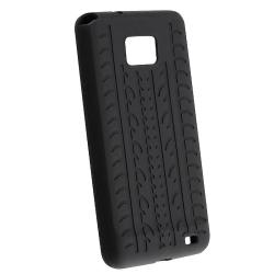 Black Tire Tread Silicone Case for Samsung Galaxy S 2 i9100 - Thumbnail 1