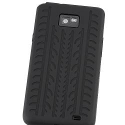Black Tire Tread Silicone Case for Samsung Galaxy S 2 i9100 - Thumbnail 2