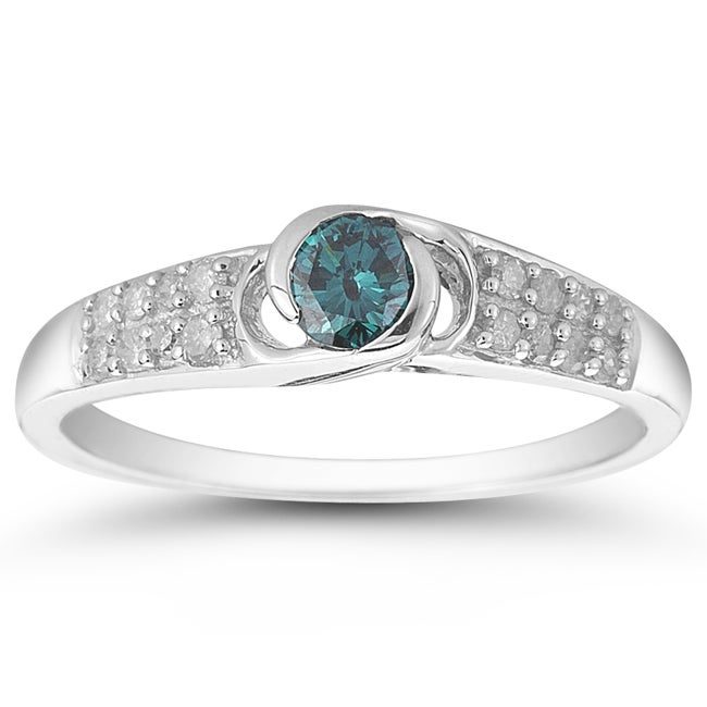 Marquee Jewels 10k White Gold 1/2ct TDW Blue and White Diamond Ring (I-J, I1-I2)