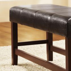 Toress Dark Brown Faux Leather Cushioned 40-inch Bench - Thumbnail 1
