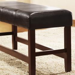 Toress Dark Brown Faux Leather Cushioned 40-inch Bench - Thumbnail 2