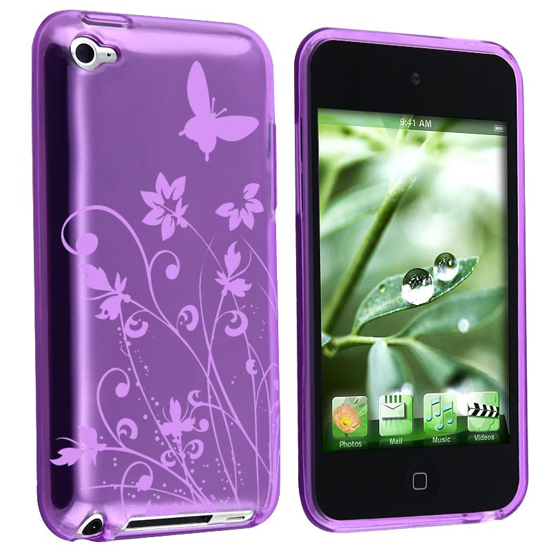 Purple Butterfly TPU Rubber Case for Apple iPod touch 4th Gen - Thumbnail 0