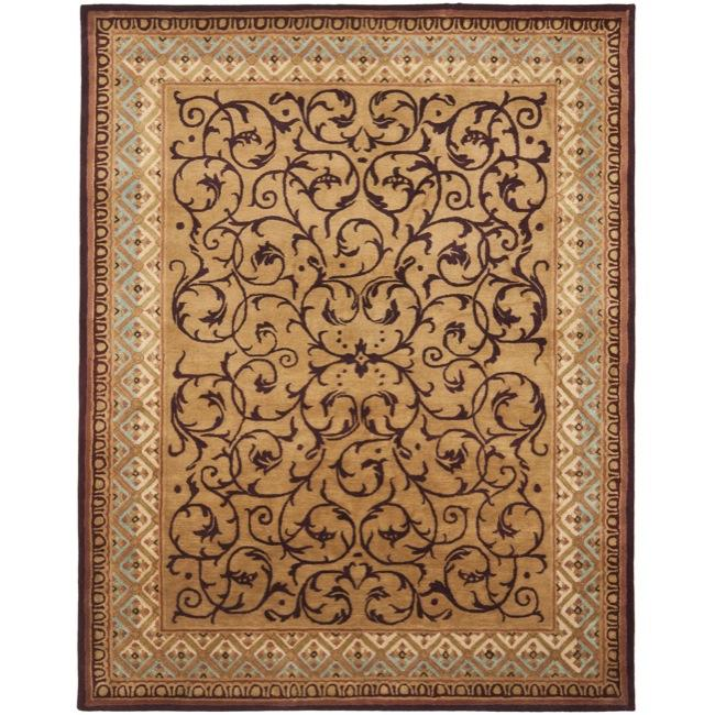 Safavieh Handmade Aubusson Scrolls Brown/ Blue Wool Rug - 8'3 x 11'