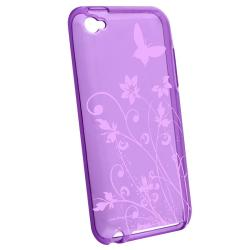 Purple Butterfly TPU Rubber Case for Apple iPod touch 4th Gen - Thumbnail 1
