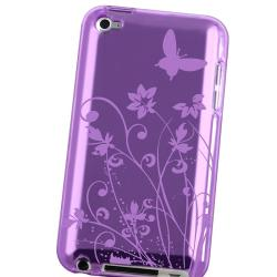 Purple Butterfly TPU Rubber Case for Apple iPod touch 4th Gen - Thumbnail 2