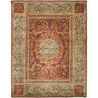 Safavieh Handmade Aubusson Bonnelles Red/ Beige Wool Rug - 6' x 9'