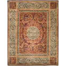 Safavieh Handmade Aubusson Bonnelles Red/ Beige Wool Rug (7'6 x 9'6)