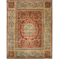 Safavieh Handmade Aubusson Bonnelles Red/ Beige Wool Rug - 8' x 10'