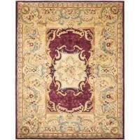 Safavieh Handmade Aubusson Limours Burgundy/ Gold Wool Rug (6' x 9')