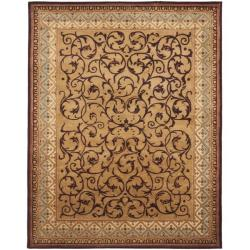 Safavieh Handmade Aubusson Scrolls Brown/ Blue Wool Rug - 8'3 x 11' - Thumbnail 0