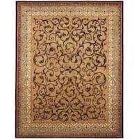 Safavieh Handmade Aubusson Scrolls Brown/ Blue Wool Rug - 8'3 x 11'