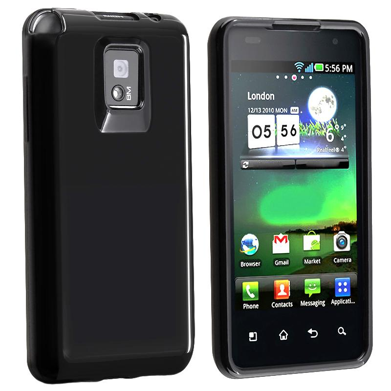 INSTEN Black TPU Rubber Phone Case Cover for LG G2X