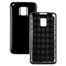 INSTEN Black TPU Rubber Phone Case Cover for LG G2X - Thumbnail 1