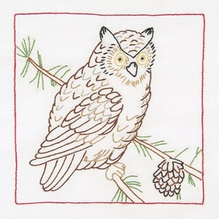 "Stamped White Quilt Blocks 9""X9"" 12/Pkg-Owl"