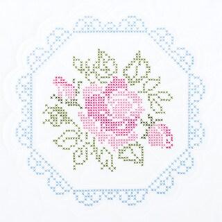 "Stamped White Quilt Blocks 18""X18"" 6/Pkg-Rose"