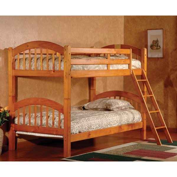 Shop Arched Twin Honey Oak Finish Bunk Bed Free Shipping