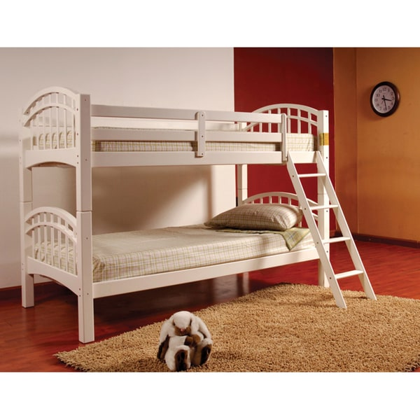 Arched Esprit White Finish Twin Bunk Bed