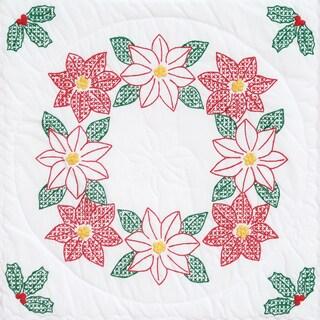 "Stamped White Quilt Blocks 18""X18"" 6/Pkg-Poinsettias"