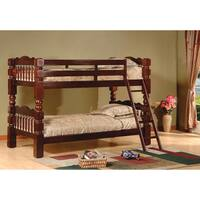 Esprit Cherry Finish Wood Carved Spindle Bunk Bed