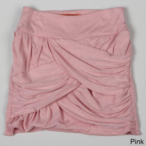 Paulinie Collection Girl's Elastic Waist Draped Mini Skirt