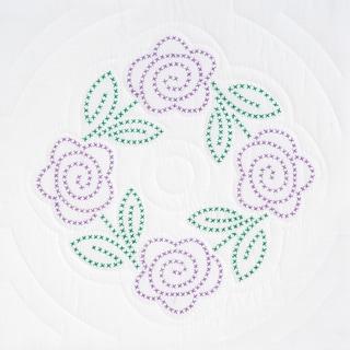 """Stamped White Quilt Blocks 18""""X18"""" 6/Pkg-XX Roses"""