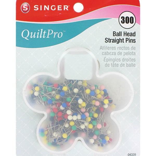"""QuiltPro Ball Head Straight Pins In Flower Case-Size 17 1-1/16"""" 300/Pkg"""