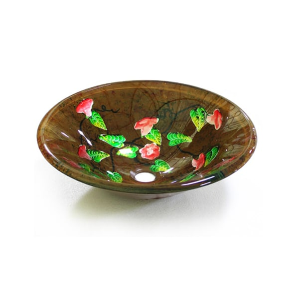 Floral Glass Sink Bowl