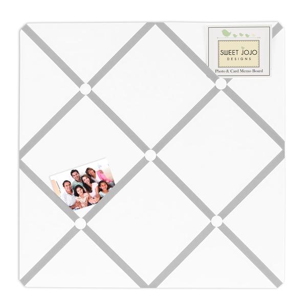 Sweet JoJo Designs Grey and White Diamond Fabric Bulletin Board