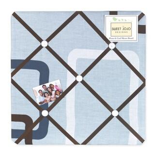 Sweet JoJo Designs Blue and Brown Geo Fabric Bulletin Board
