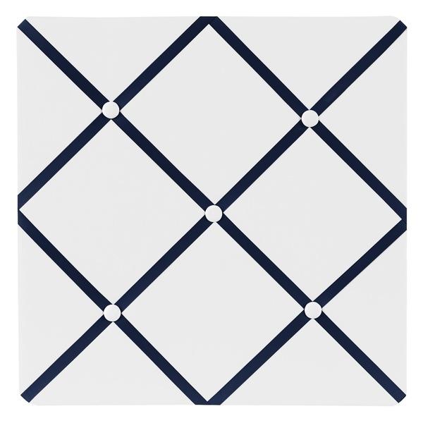Sweet JoJo Designs White and Navy Hotel Fabric Memory Board