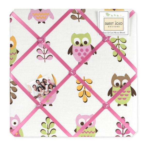 Sweet JoJo Designs Pink Happy Owl Fabric Bulletin Board