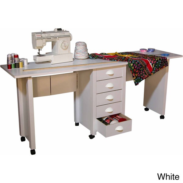 Venture horizon double mobile desk craft center and sewing for Crafting desks for sale
