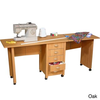 Venture Horizon Double Mobile Desk/Craft Center and Sewing Machine Table (Option: Brown)