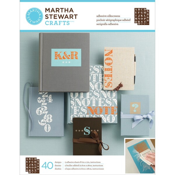 "Martha Stewart Adhesive Silkscreen 8-1/2""X11"" 2 Sheets/Pkg-Flourish Serif Alphabet. Opens flyout."