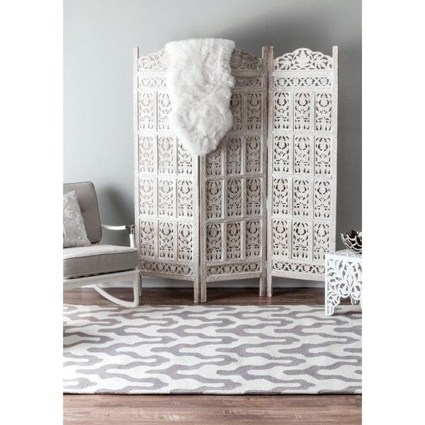 nuLOOM Handmade Modern Trellis Wool Rug (7'6 x 9'6)