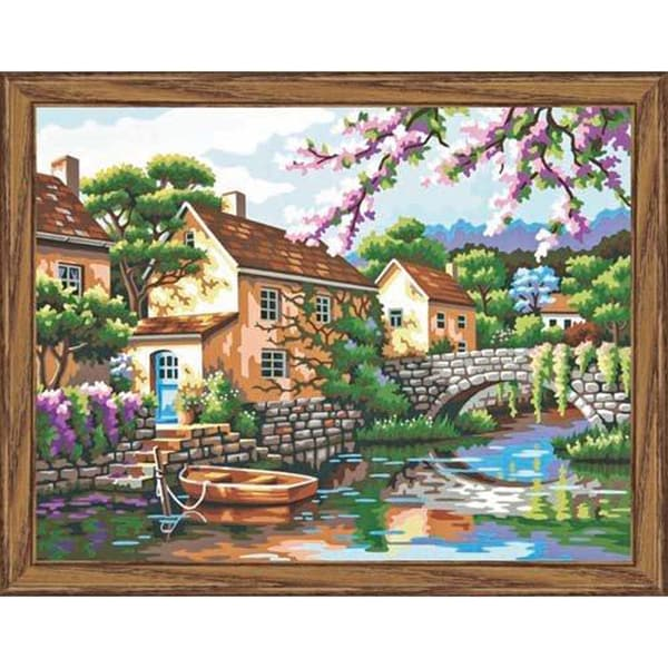 "Paint By Number Kit 14""X11""-Village Canal"