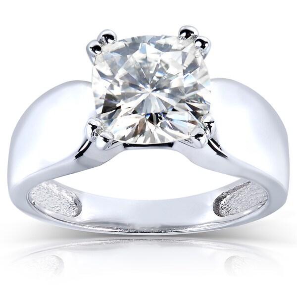 Annello by Kobelli 14k White Gold Cushion-cut Moissanite Solitaire Ring