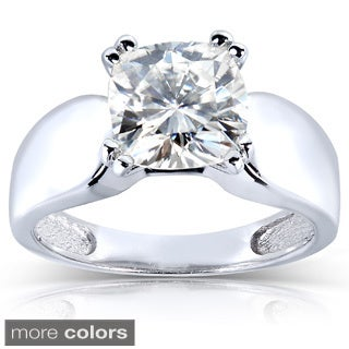 Annello by Kobelli 14k White Gold Cushion-cut Moissanite Solitaire Ring