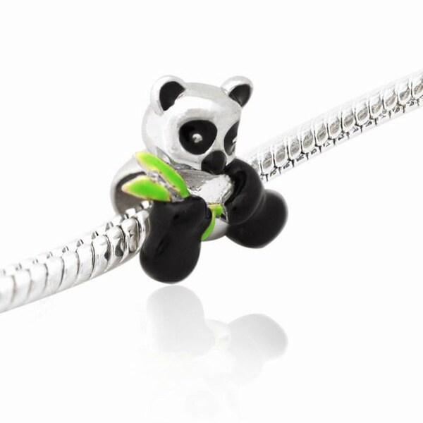 De Buman Sterling Silver Enamel Panda Charm Bead