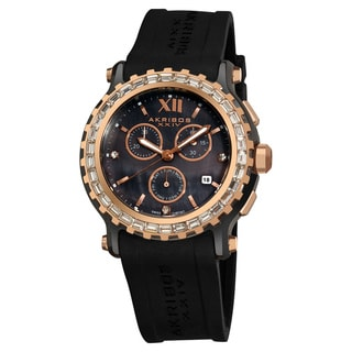 Akribos XXIV Women's Ceramic Rubber Black Strap Swiss Quartz Chronograph Watch with FREE GIFT - Gold