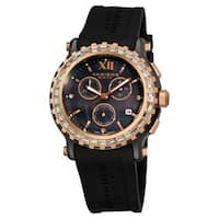 Akribos XXIV Women's Ceramic Rubber Black Strap Swiss Quartz Chronograph Watch with FREE Bangle - GOLD